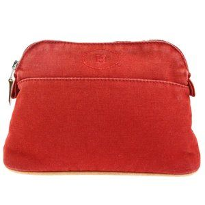 HERMES H Logos Bolide MM Pouch Bag Cotton Leather
